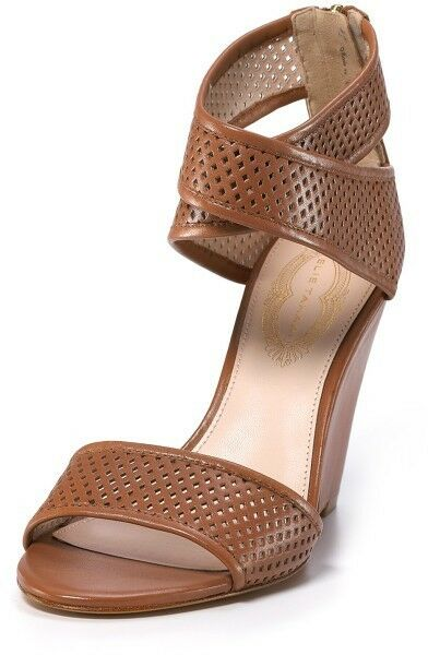 ELIE TAHARI MAXINE wedges ankle wrap perforated leather sz 40.5 ret  386