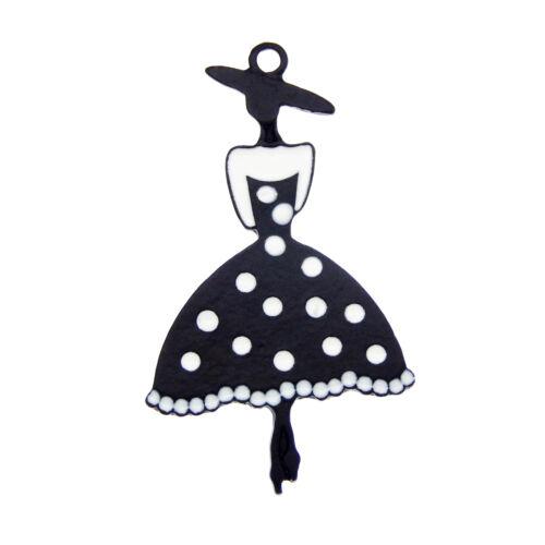 Wholesale Enamel Plated 44x26mm Fashion Girl Pendant Charms DIY Findings 12pcs