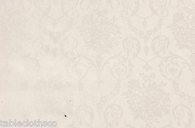 Ivoire damassé vinyle toile cirée pvc nettoyer table cloth co cliquez pour tailles