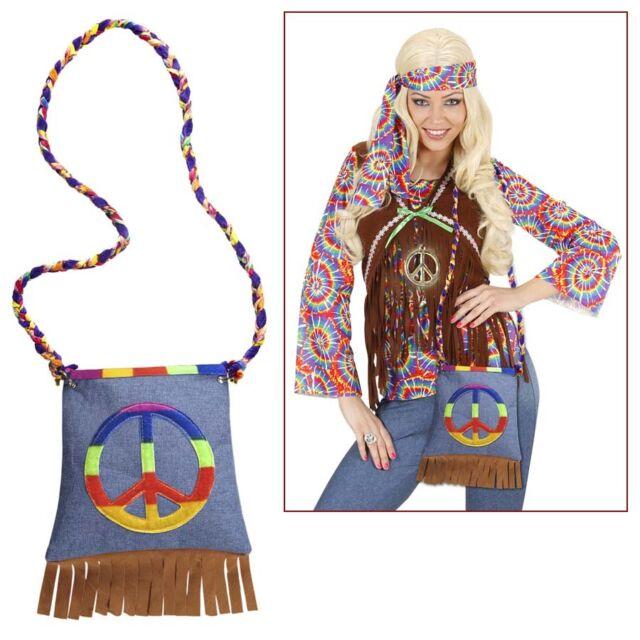 HIPPIE HANDTASCHE 70er Jahre Flower Power Peace Tasche Schlager Kostüm Fete 9566
