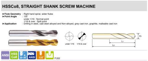 Drills YG1 Stub 10pcs #42 TiN Coated Cobalt 135°Point Screw Machine