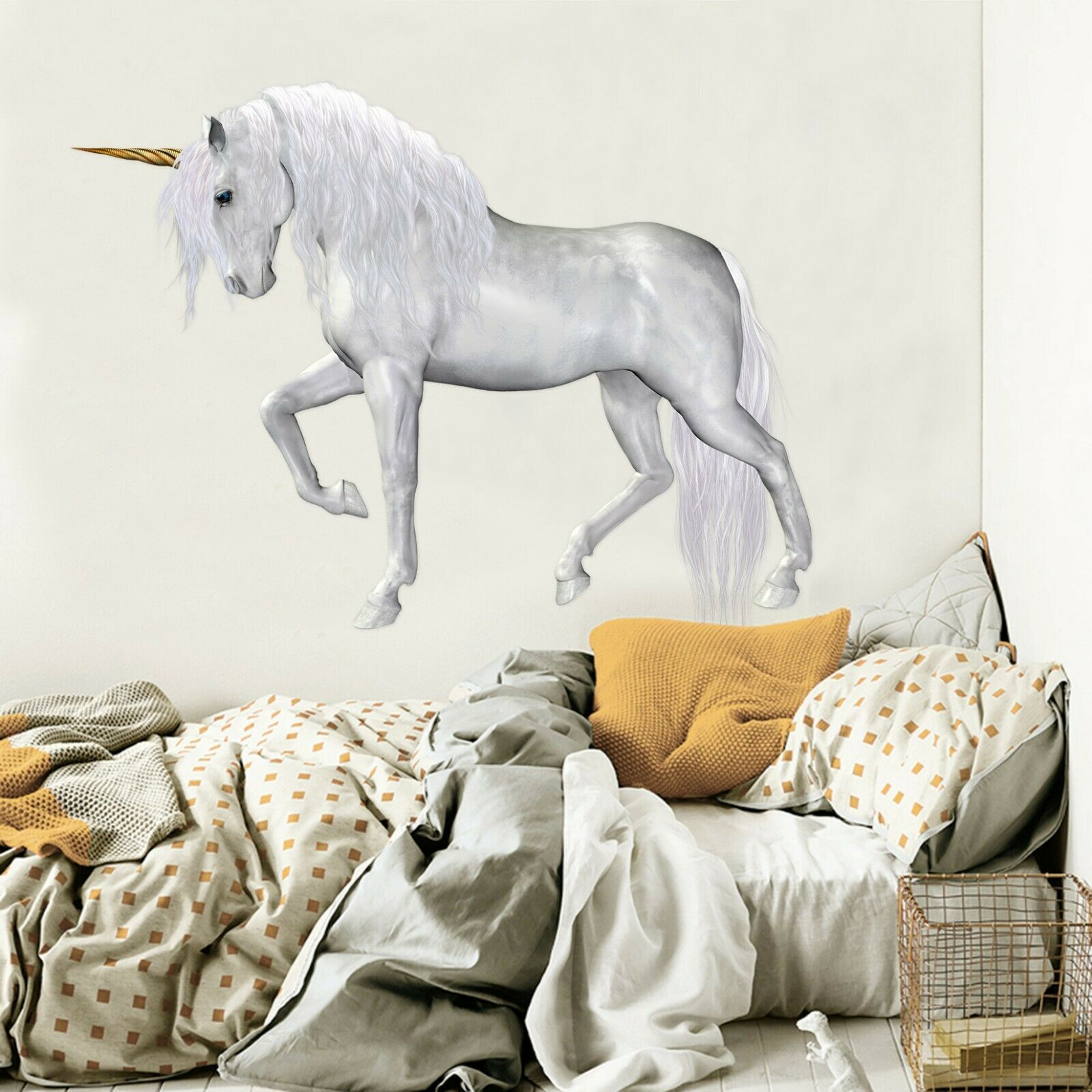 3D Elegant Unicorn P40 Animal WandPapier Mural Self-adhesive Removable Zoe