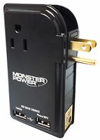 Monster Cable Outlets To Go Power Strip- 3 Outlets - W/ 2 Usb Charger Ports
