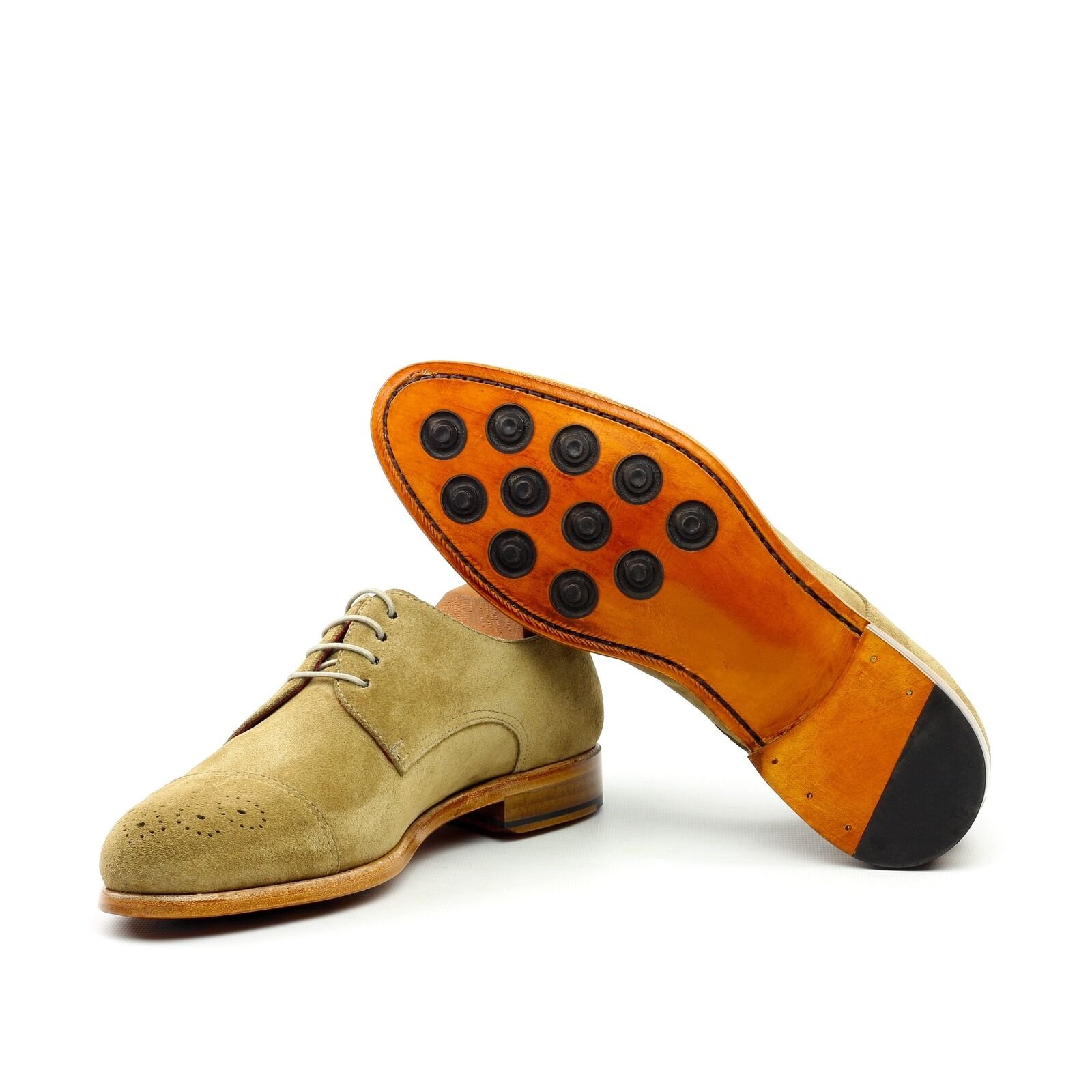 gold DUST - Unique Handcrafted golden Brown Brogue Classic Oxford w  Cap Toe