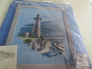 Lighthouse Crewel Kit Faithful Vigil 16X20 Paragon Needle Craft No.0621 Vtg.1977
