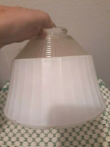 Vtg-Glass-Shade-Floor-Lamp-Globe-8-Clear-Waffle-to-Frosted-Retro-Scalloped-Old