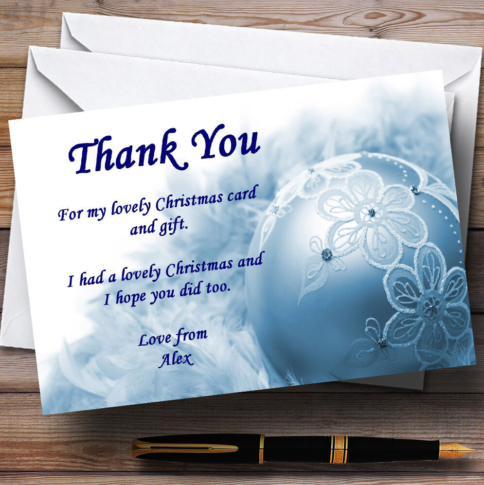 Blau Lace Bauble Personalised Christmas Party Thank You Cards