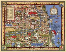 1931 Chicago Gangland Map Historic Vintage Style Wall Gangster Map - 24x30