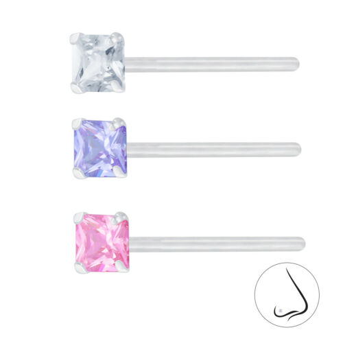 925 Sterling Silver Square CZ Nose Stud Pin Crystal Pink Lavender Jewellery