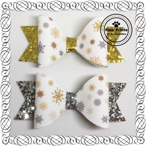 "3.5/"" Clip Gold or Silver Elegant Snowflake Christmas Hair Bows"