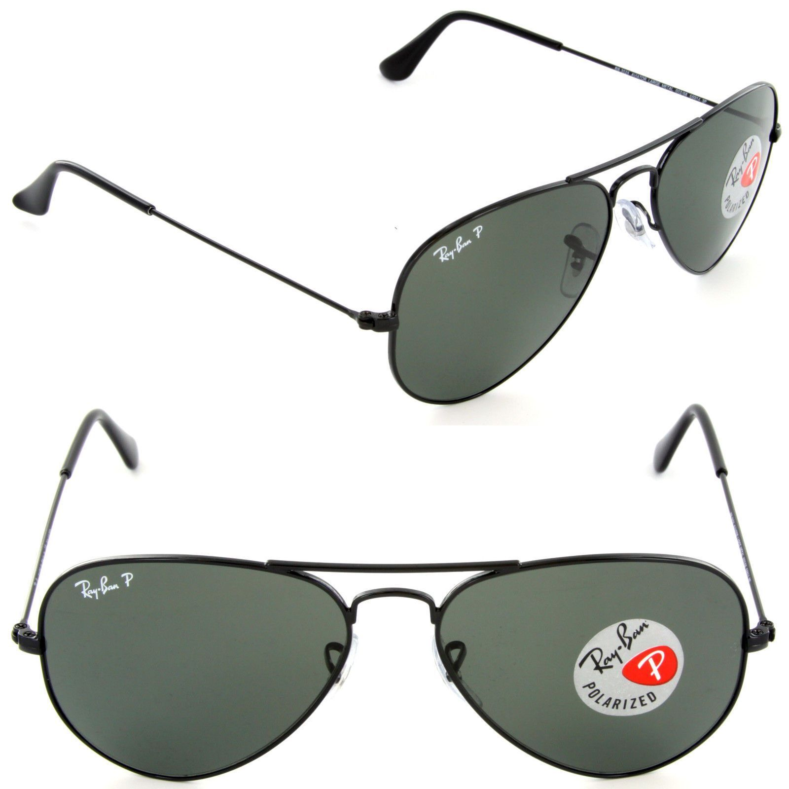 84bebbf74 Ray-Ban RB3025 Unisex Aviator Sunglasses with Black Frame and Green ...