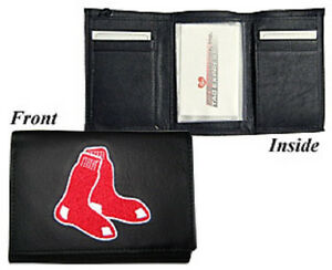 Boston Red Sox Black Leather Tri-fold Wallet