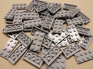 x50 NEW Lego Gray Baseplates 2x4 Brick Building Plates LIGHT BLUISH GRAY