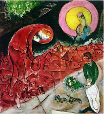RED ROOFS 1953, MARC CHAGALL, OFFSET LITHOGRAPH 1964 UNSIGNED