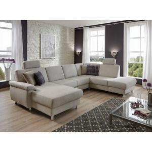 Wohnlandschaft Winston Ecksofa Sofa Polstermobel U Form In Grau Weiss