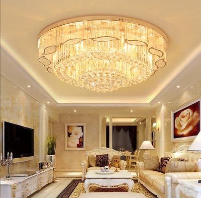 LED Square K9 Crystal Ceiling Fixtures Dining Room Pendant Lamp Light Chandelier