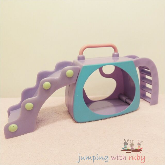 Littlest Pet Shop ACCESSORY - Purple & Blue Pet Carrier & Playground Slide