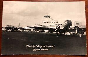 Municipal Airport Terminal Chicago Illinois RPPC Grogan Photo