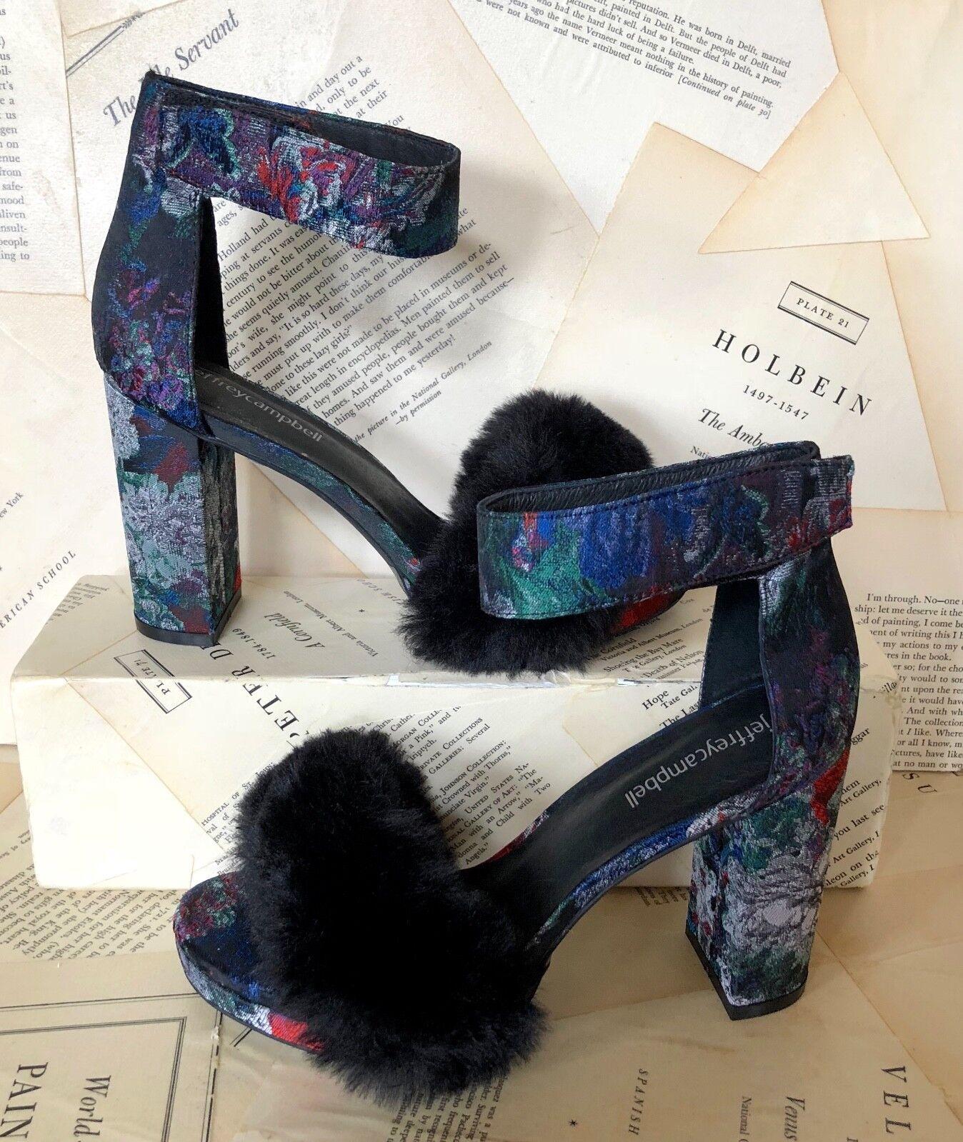 Nuevo En Caja Jeffrey Campbell Azul Negro Negro Negro Sandalia De Tacón De Plataforma Piel Brocado 8  más vendido