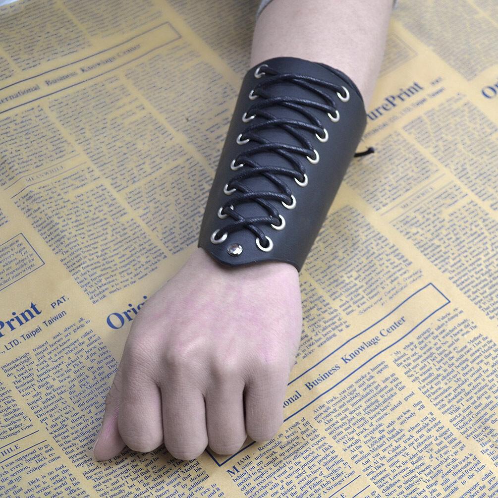 Cross Strings Black PU Leather Bracer Arm Armor Cuff Gothic Cosplay Wristband