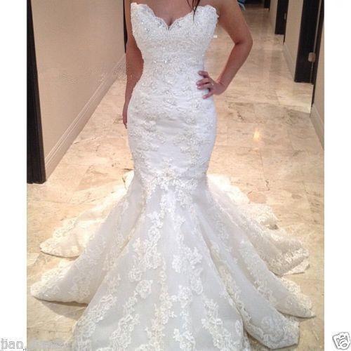 Mermaid  white Ivory Lace Wedding Dress Sweetheart Bridal Gown Custom Made Size