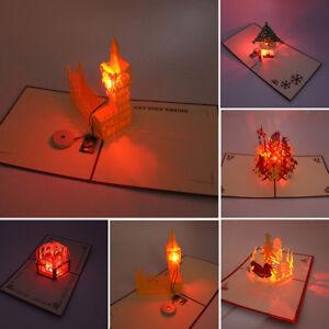 HN-BU-AU-Music-Light-3D-Pop-Up-Greeting-Card-Handmade-Birthday-XMAS-Postcard