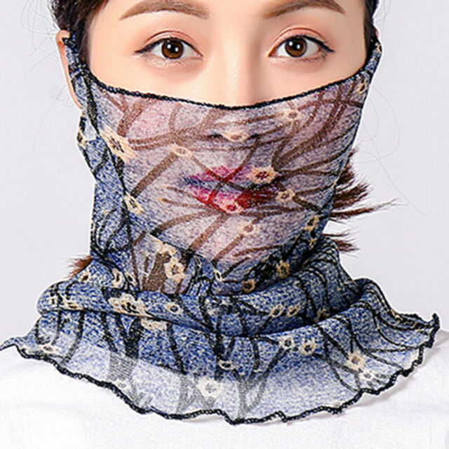 Women Floral Leaf Soft Protective UV-resistant Face Mask Hairband Scarf Trendy