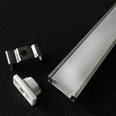 10x0.5M U-Shape Aluminum Channel Holder for LED Strips w/ PC Cover & End Caps