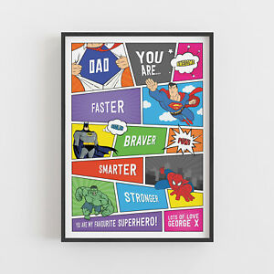 Image Is Loading Personalised Superhero Birthday Gift For Dad Grandad Thank
