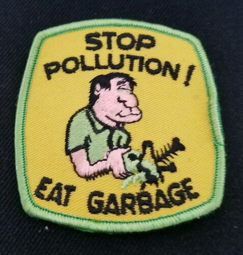 Vintage 70s Stop Pollution EAT GARBAGE funny Motorcycle Biker Patch sew on
