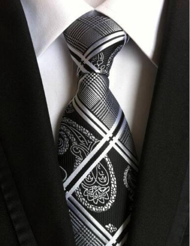 New Classic 100/% Silk Men/'s Tie Geometric Black White JACQUARD WOVEN Necktie