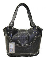 Montana West Ladies Concealed Gun Carrying Purse Tooled Genuine Leather Black