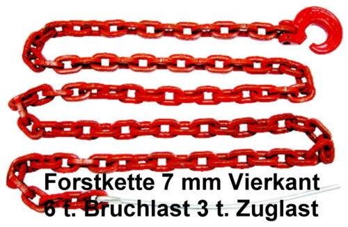 Schlinghaken 4-Kant 7mm 2,0m Rückekette 6t Forstkette Chokerkette m Bruchlast