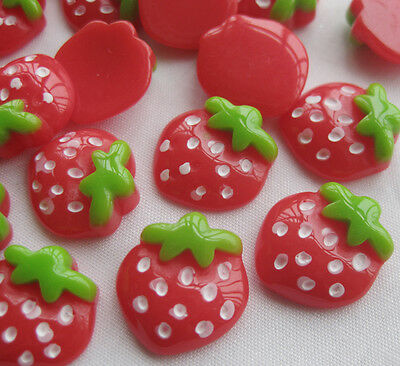 50pcs Mini Strawberry Resin Flatback Button DIY Scrapbooking Accessories JCN038