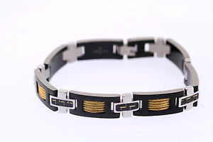 Shaquille-O-039-Neal-11mm-Stainless-Tri-Tone-Carbon-Fiber-Yellow-IP-Cable-Bracelet