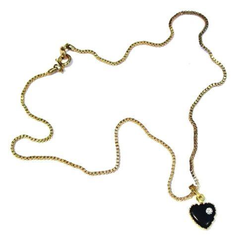 Gold Crystal Diamante Black Heart Necklace Pendant Chain Women Girls Jewellery