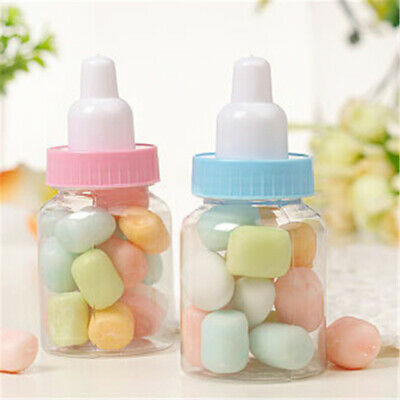 12pcs Candy Fillable Bottles Baby Shower Favors Blue Pink Party Decorations