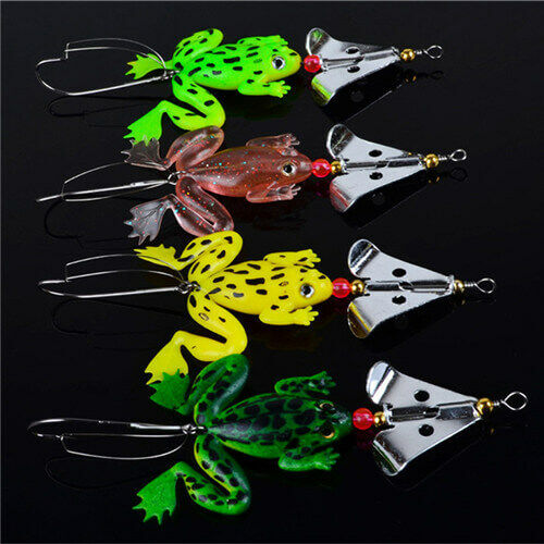 LOT Rubber Soft Frog Bass SpinnerBait Tackle US Fishing Lures Set 4 Pcs