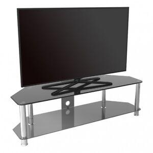 Détails Sur Meuble Tv Verre Noir Jusqu à 165cm Pour Hd Plasma Lcd Led Courbé Tvs 140cm