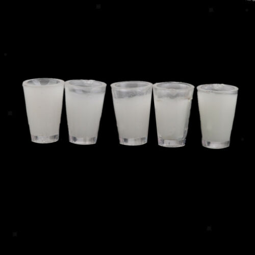 5pcs Glass Filled Milk Mugs Cups for 1:12 Doll House Miniature Pub//Bar Favor