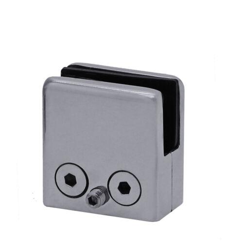 Stainless Steel Glass Clamp Holder Clip Bracket BathMatt Shiny 6-12mm Flat Base