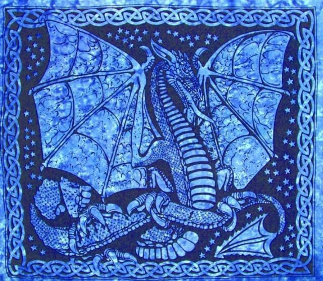 Handmade 100% Cotton Celtic Dragon Tapestry Tablecloth Coverlet Blues 84x90