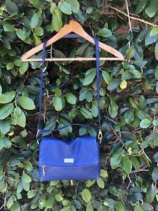 Kate-Spade-Pebbled-Leather-Teal-Blue-Shoulder-Crossbody-Bag-Medium-Fold-over