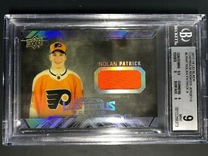 2017-18-UD-Black-Lustrous-Rookies-Nolan-Patrick-Jersey-BGS-Graded-9