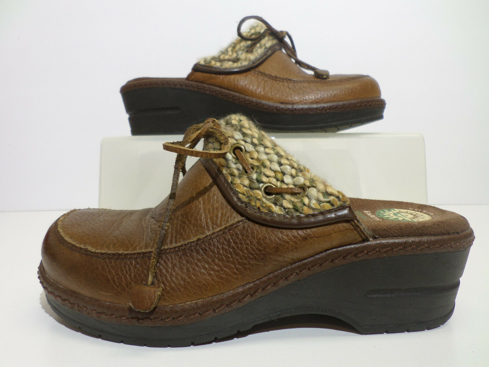 Earth Spirit Woodwind Brown Leather Gelron 2000 Mules shoes Women's Size 6