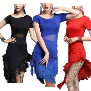 f0e61a93f Women's Fringe Tassel Latin Dance Dress Rumba Cha Cha Samba Ballroom ...
