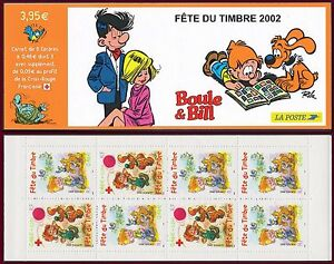 2002-FRANCE-Carnet-BC-3467a-FETE-du-TIMBRE-Boule-et-Bill-Stamp-day-Booklet-MNH