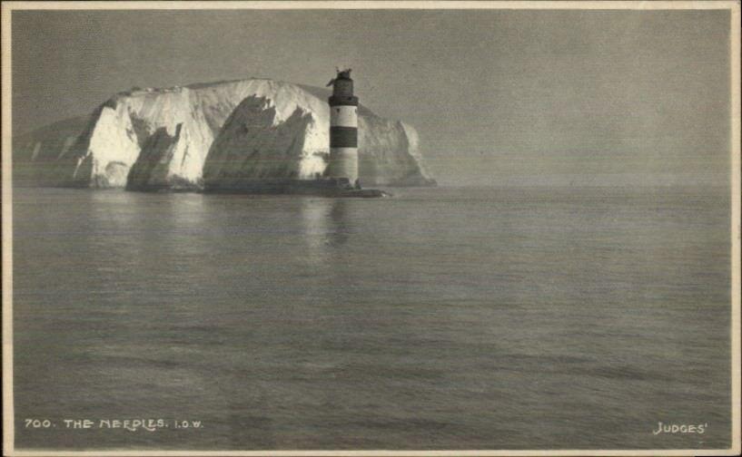 Needles Lighthouse Isle of Wight UK Judges Real Photo Postcard c1910