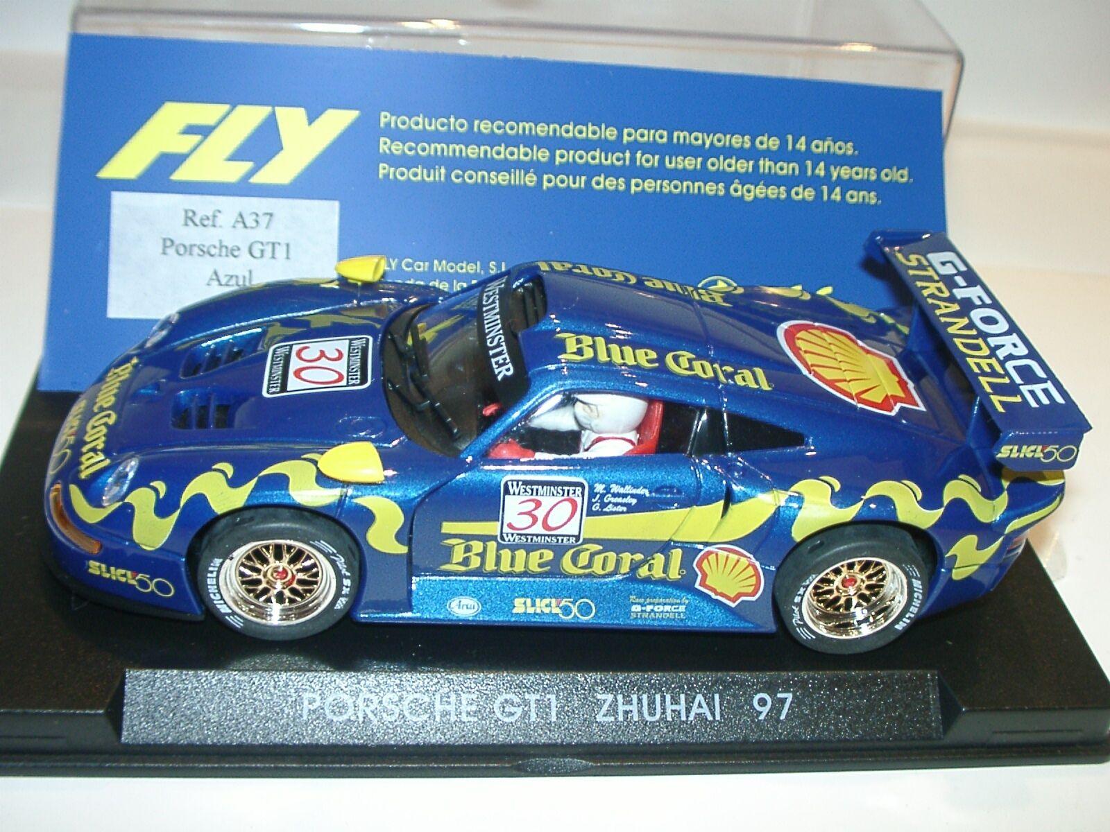 Sqvc) fliegen a37 porsche 911 gt1 Blau coral zhuai 1997 - slot 1  32 - skala