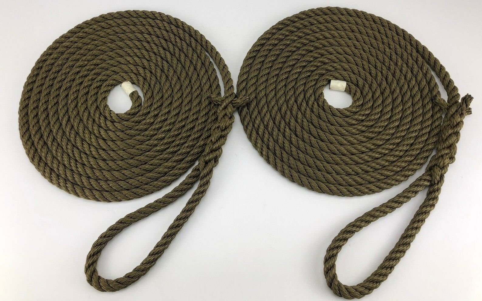 2 x 16 Metres of 14mm Olive Green Mooring Ropes. Warps, Boat Lines, Yachts,Canal